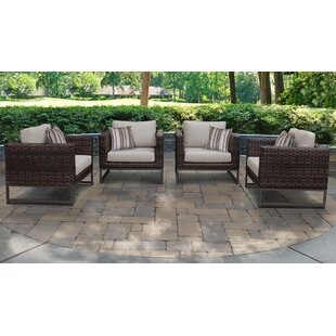 Barcelona Patio Chair with Cushions (Set of 4)