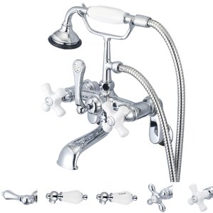 stonington adjustable center wall mount tub faucet with swivel wall connector u0026 handheld shower