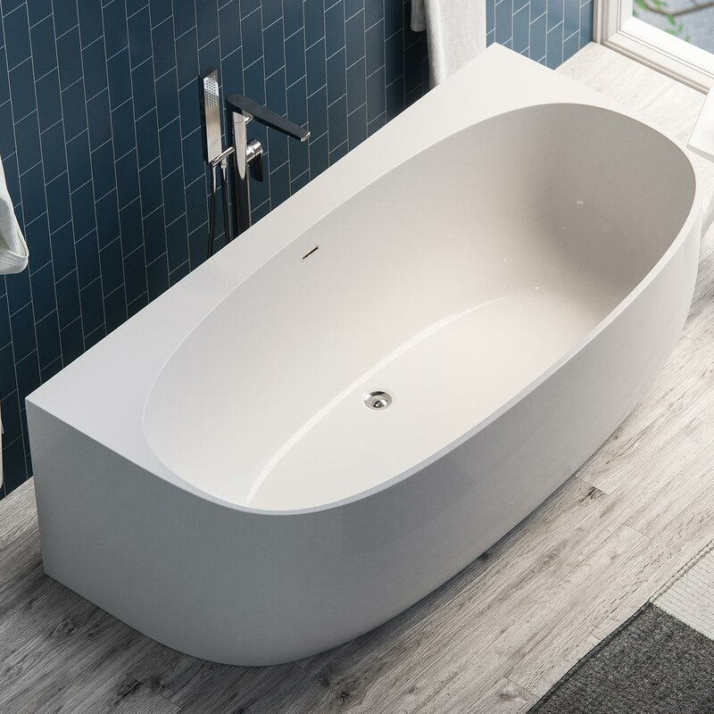 "maykke ocala acrylic 58"" x 33"" alcove soaking bathtub 