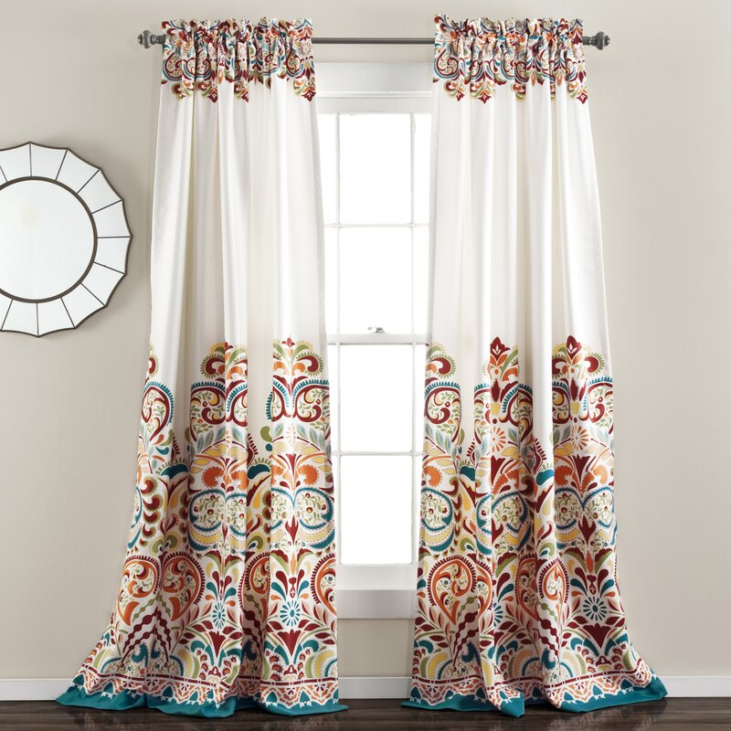 Pierre Paisley Room Darkening Thermal Rod Pocket Curtain Panels