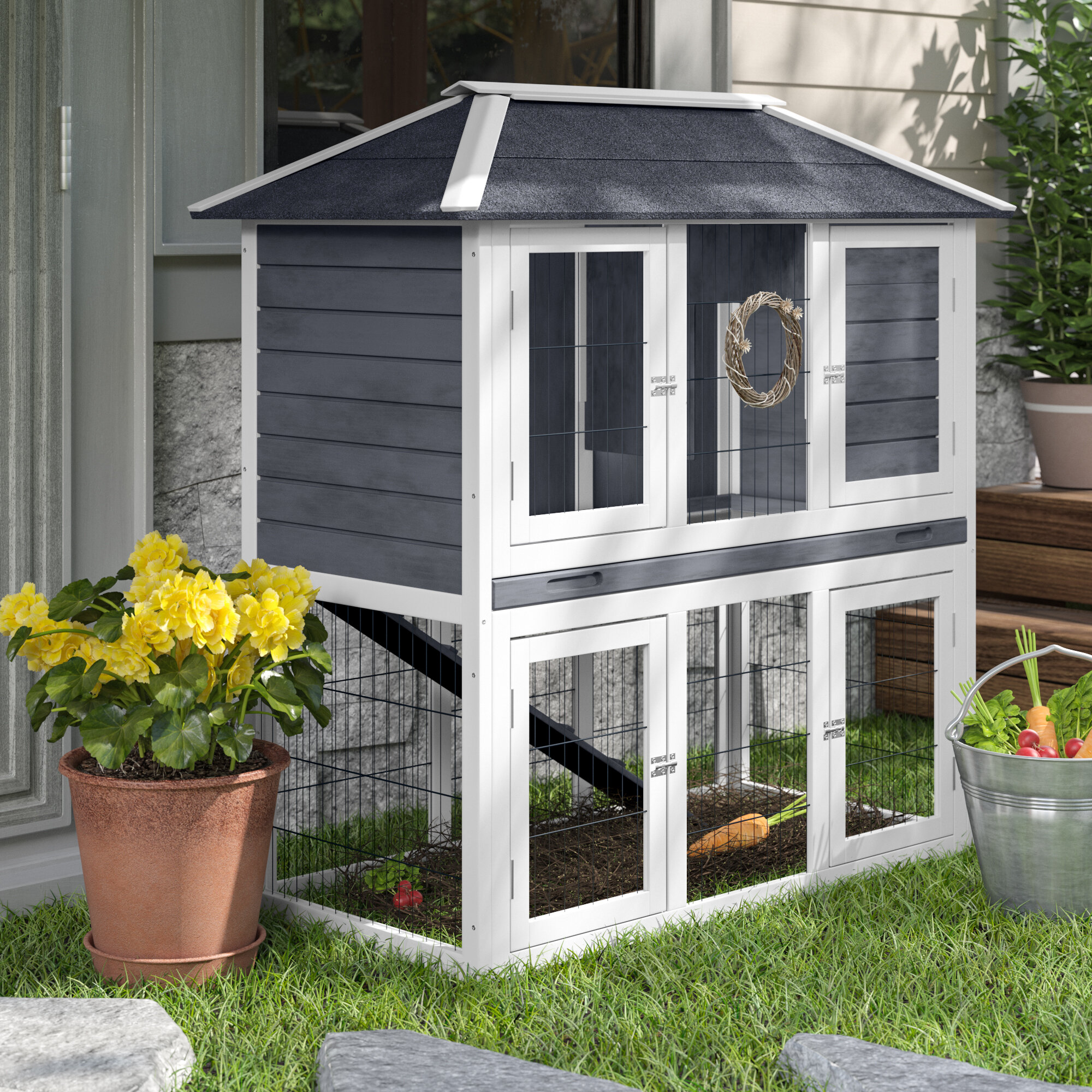 Englewood Weather Resistant Rabbit Hutch with Ramp
