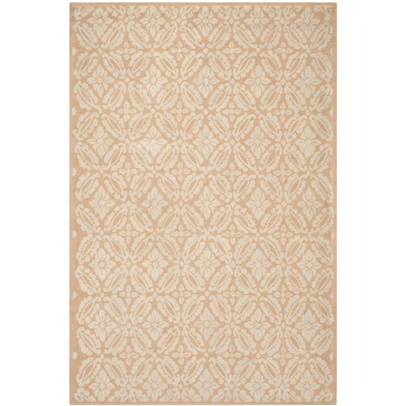 Alcott Hill Baytown Hand-Hooked Wool Gold/Ivory Area Rug, Size: Rectangle 6 x 9