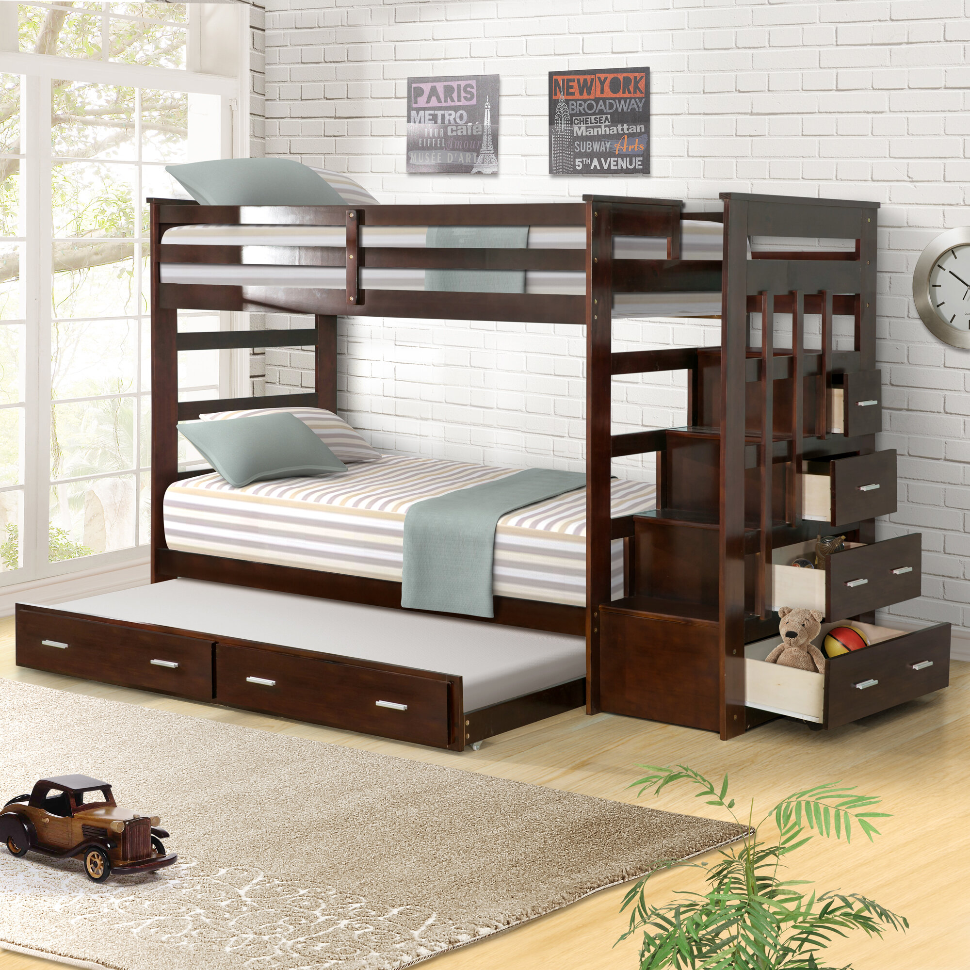 Harriet Bee Jeremias Twin Over Twin Bunk Bed with Trundle and