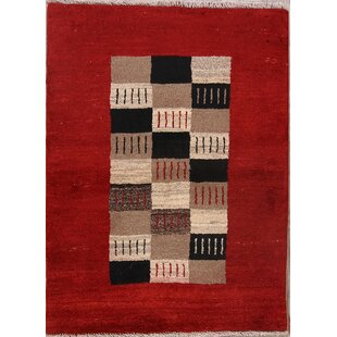 Find the perfect One-of-a-Kind Mantz Soft Plush Checked Gabbeh Shiraz Persian Modern Classical Hand-Knotted 2'10 x 4' Wool Red/Black/Ivory Area Rug By Isabelline