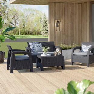 Berard 4 Piece Rattan Sofa Seating Group with Cushions