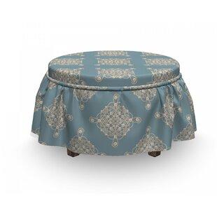 Pearls Symmetric Sailot Knot 2 Piece Box Cushion Ottoman Slipcover Set By East Urban Home