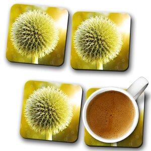 Yellow Flower Globe Thistle (2) Coaster (Set of 4)