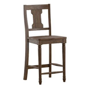 Petrucci Reclaimed Wood Splat Back 24 Bar Stool (Set of 2) by Alcott Hill