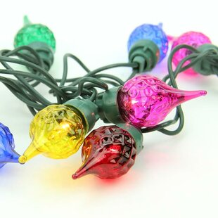 Sienna Lighting 35 Light Faceted Flame Tip Glass Bulb C5 Christmas Light String