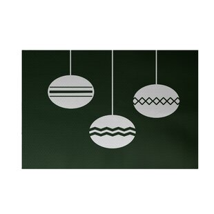 Geo-Bulbs Decorative Holiday Print Dark Green Indoor/Outdoor Area Rug By The Holiday Aisle