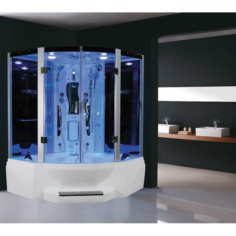 Eagle Bath Steam Shower.Eagle Bath 63 X 86 7 Neo Angle Pivot Steam Shower With Base