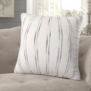 Tallent Watercolor Stripe 100% Cotton Throw Pillow