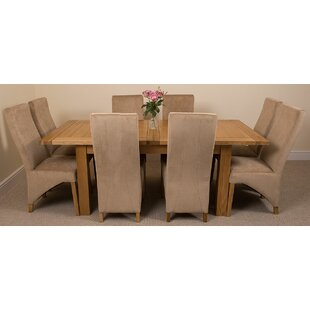 Sairsingh Kitchen Solid Oak Dining Set With 8 Chairs By Rosalind Wheeler