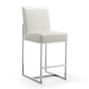 Alegra Leatherette 24.8 Bar Stool Orren Ellis