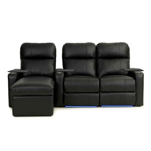 Upholstered Leather Home Theater Sofa Row of 3