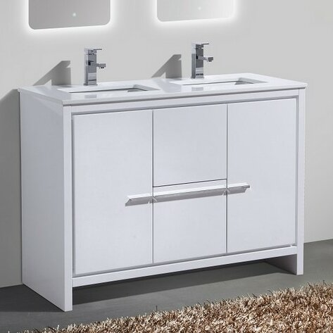 modern bathroom vanity double sink. Bosley 48  Double Sink Modern Bathroom Vanity Mercury Row Reviews