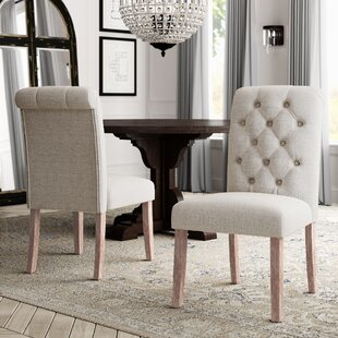 Compare prices Malinda Upholstered Dining Chair (Set of 2) by Greyleigh