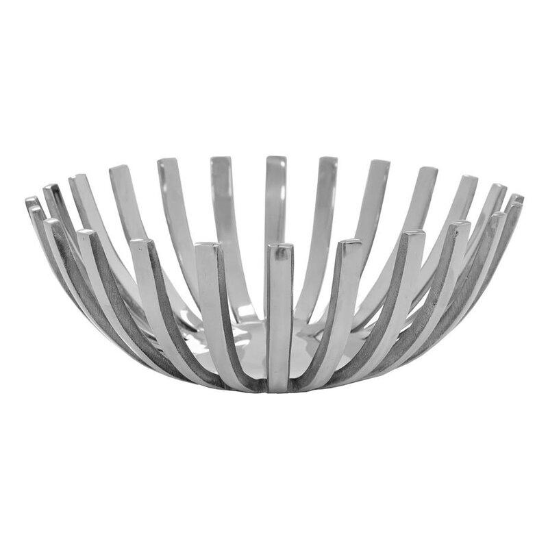 Orren Ellis Merha Metal Decorative Bowl In Silver Wayfair