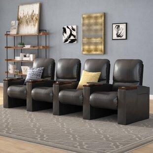 Manual Luxury Rocker Recline Home Theater Row Seating (Row of 4) by Latitude Run