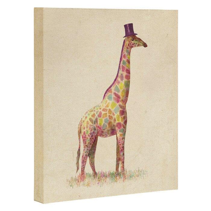 East Urban Home Fashionable Giraffe Graphic Art On Wrapped Canvas Wayfair