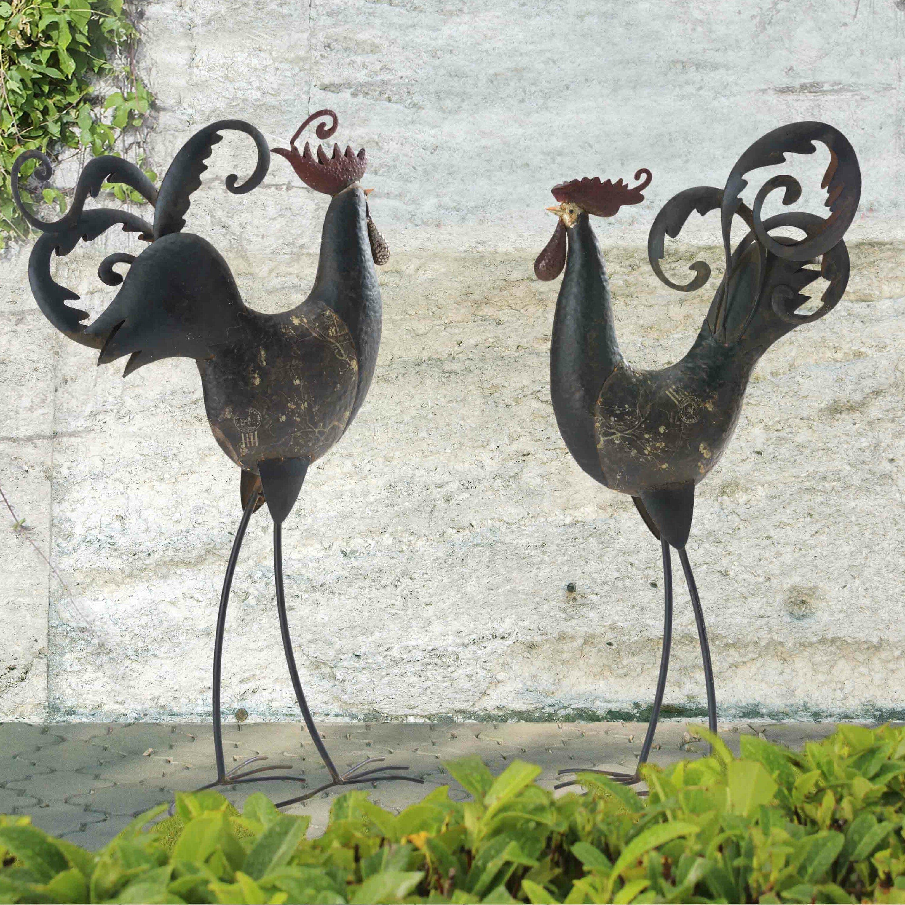 Sunjoy 2 Piece Tall Rooster and Hen Garden Statue Set   Wayfair