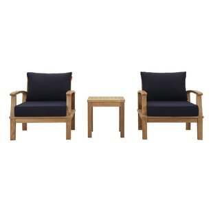 Elaina 3 Piece Teak Conversation Set with Cushions by Beachcrest Home