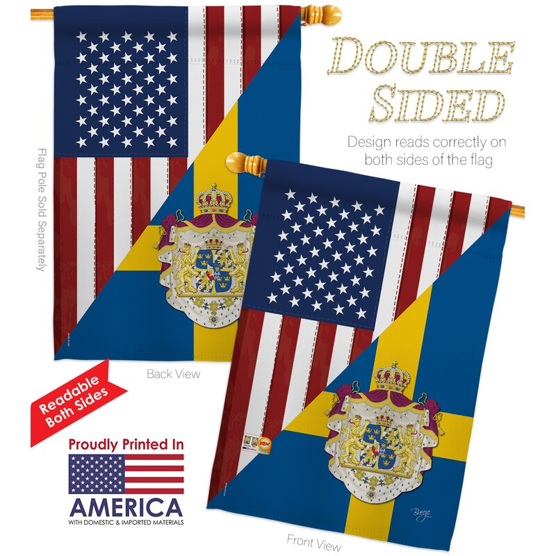 Breeze Decor American Sweden Friendship The World Impressions 2 Sided Polyester 40 X 28 In Flag Set Wayfair