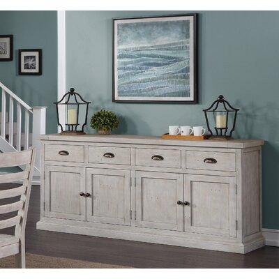 "Birch Lane Kinston 74"" Wide 4 Drawer Pine Wood Sideboard  Color: Nordic Ivory"