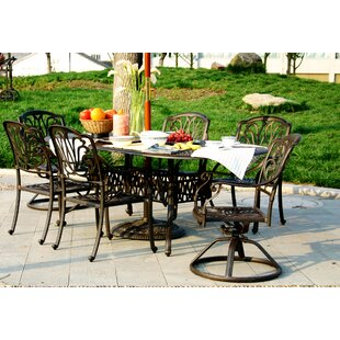 Puig Oval 7 Piece Dining Set with Sunbrella Cushions by Canora Grey