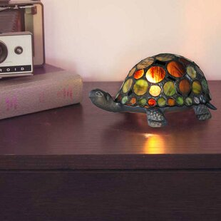 Reviews Creamer Turtle Tiffany Style Stained Glass 3.75 Table Lamp By Fleur De Lis Living