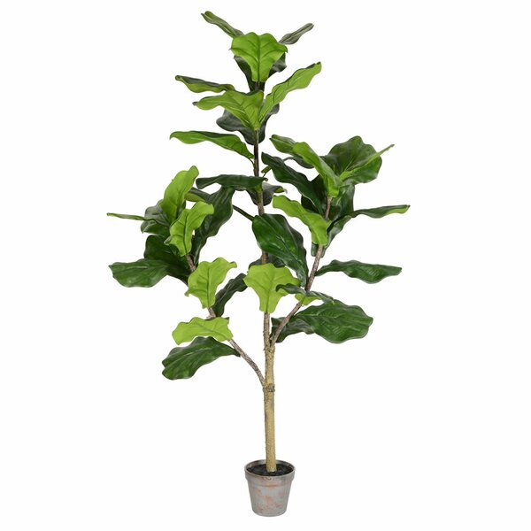 Bay Isle Home Artificial Potted Floor Foliage Fiddle Tree In Pot & Reviews by Bay Isle Home