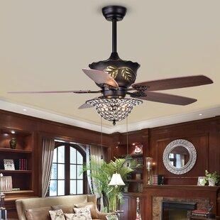 Chandelier crystal ceiling fans youll love wayfair burner 52 5 blade ceiling fan aloadofball Images