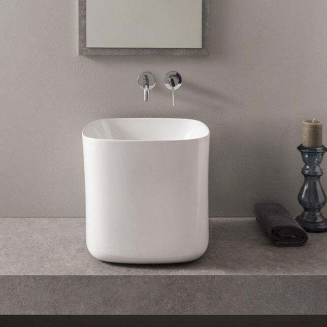 Bathroom Sinks Square scarabeonameeks moon square vessel bathroom sink | wayfair