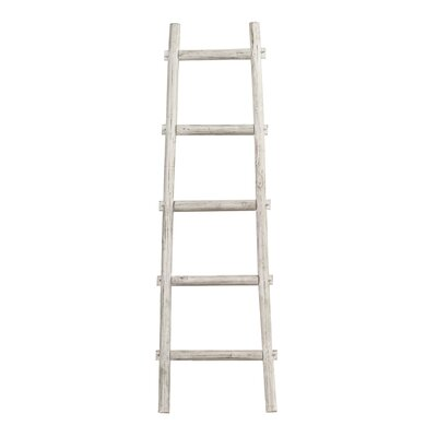 Birch Lane™ Heritage Lianes 5 Step 5 ft Decorative Blanket Ladder Color: White-Washed, Size: 59 H x 18 W x 2 D