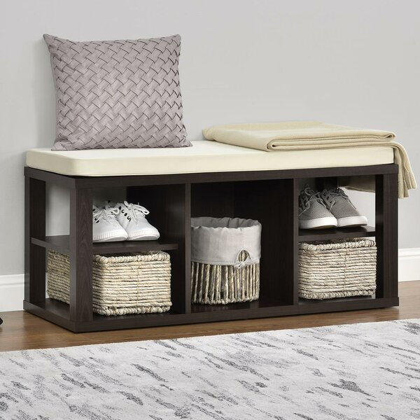 Charlton Home Annsville Wood Storage Bench (Espresso)
