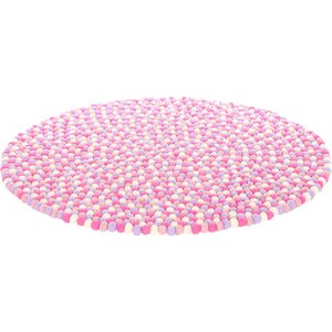 Happy as Larry Marshmallow Felt Ball Kids Rug