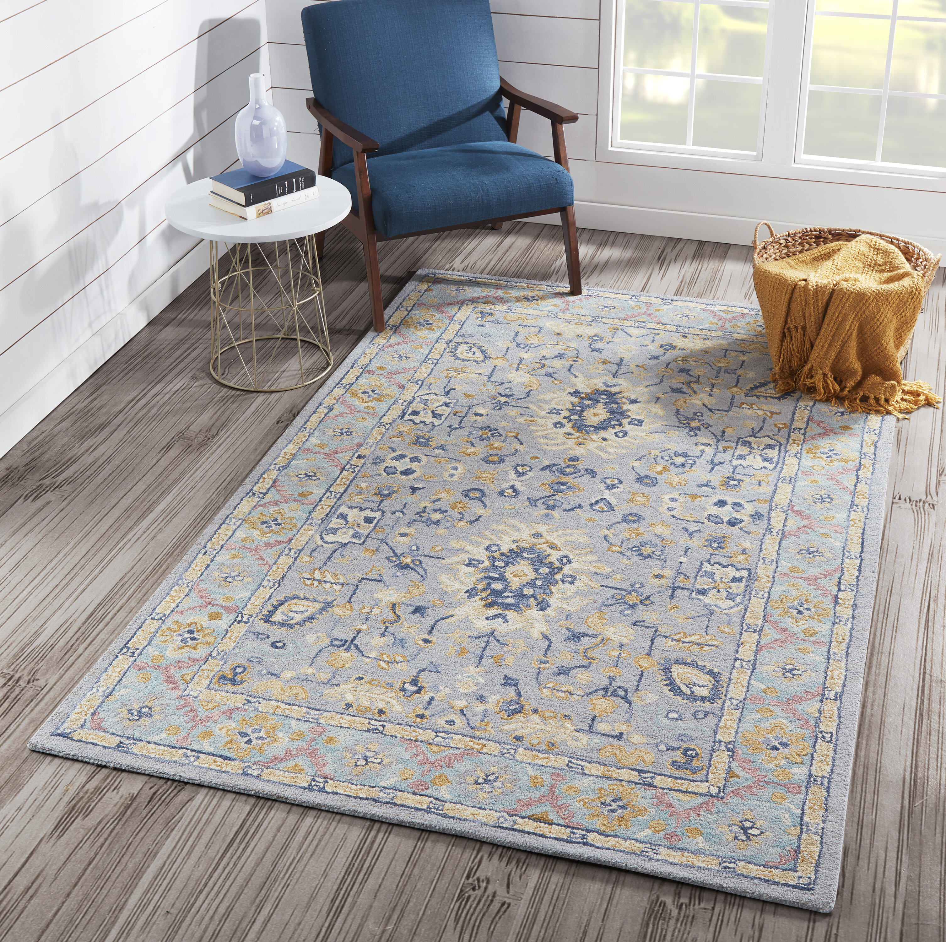 Bowers Hand Tufted Wool Blue Area Rug Reviews Joss Main