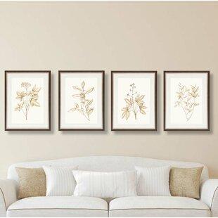 'Soft Expressions' 4 Piece Framed Graphic Art Print Set