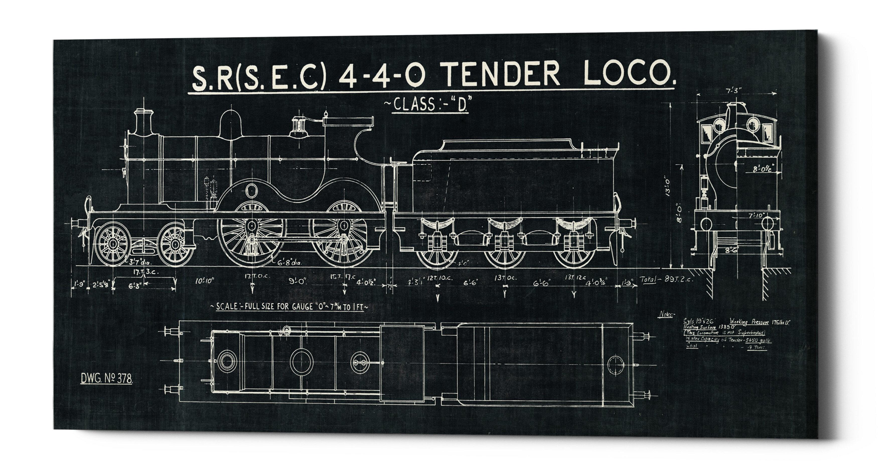 Williston Forge Train Blueprint Ii Graphic Art Print On Canvas Wayfair