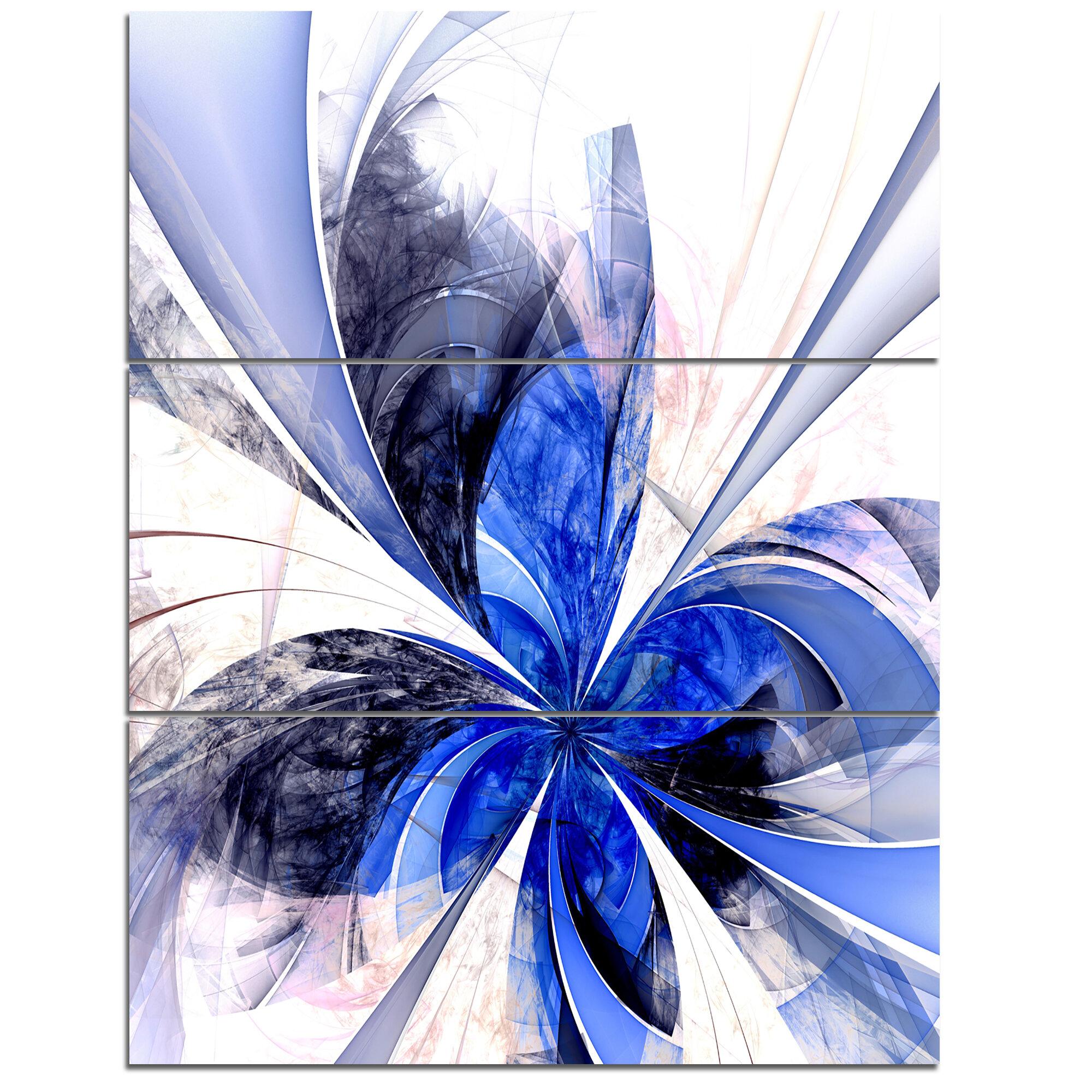 Designart Symmetrical Bright Blue Fractal Flower 3 Piece Graphic Art On Wrapped Canvas Set Wayfair