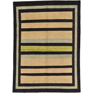 Inexpensive One-of-a-Kind Nash Hand-Knotted 5'7 x 7'7 Wool Beige/Black Area Rug By Isabelline
