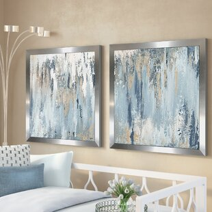 Blue Illusion Square 2 Piece Acrylic Painting Print Set