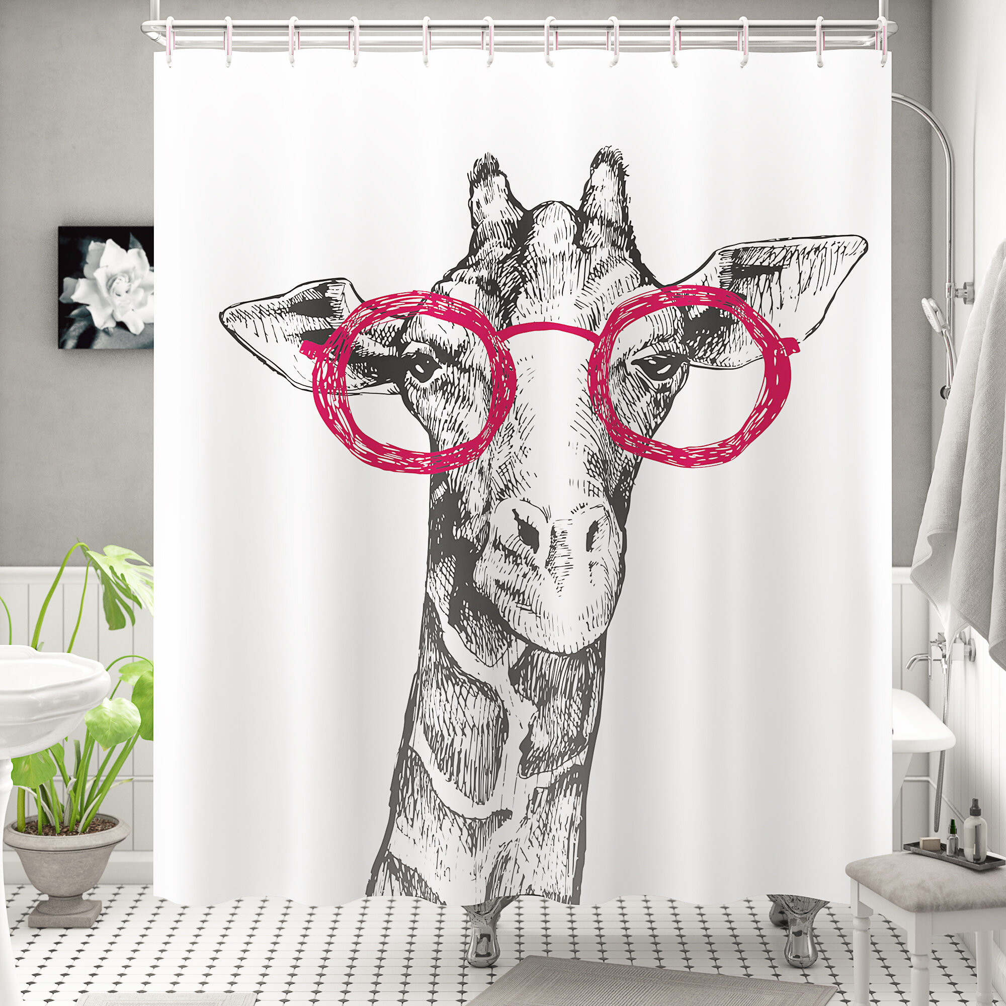 "72x72/"" Cute Hippo Girl Waterproof Fabric Shower Curtain Set Bathroom Decor Hooks"