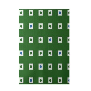 Geometric Hand-Woven Green/Blue Indoor/Outdoor Area Rug