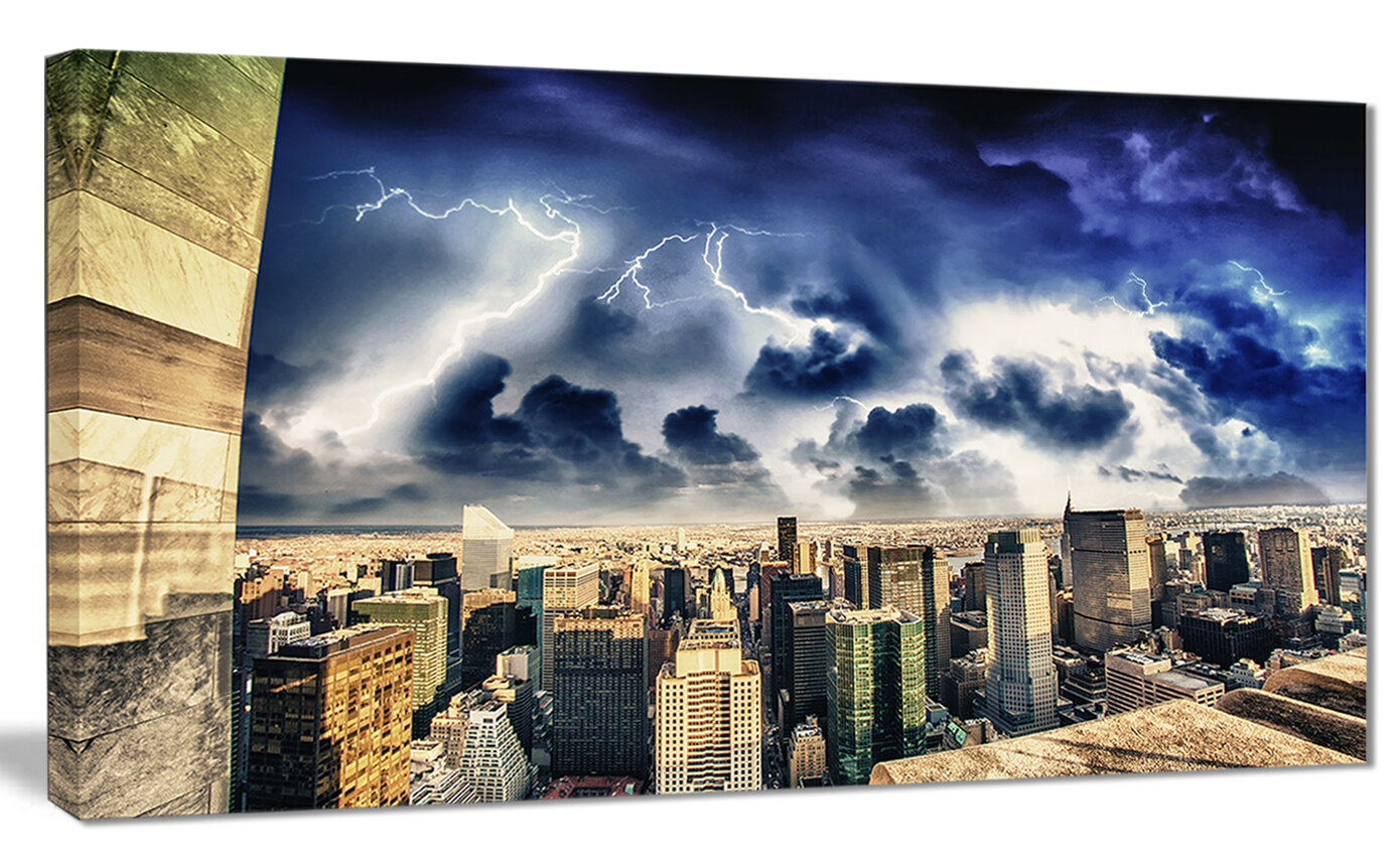 Designart Storm Above Manhattan Skyscrapers Photographic Print On Wrapped Canvas Wayfair