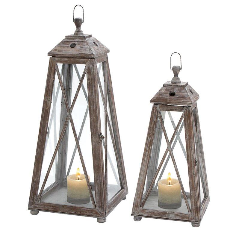 Longshore Tides 2 Piece Wood Tabletop Lantern Set Wayfair