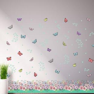 Fesselnd Wandtattoo Blumen, Schmetterlinge