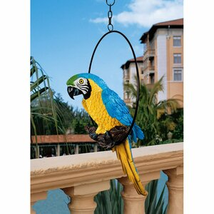 Polly in Paradise Parrot Statue on Ring Perch (Set of 2)