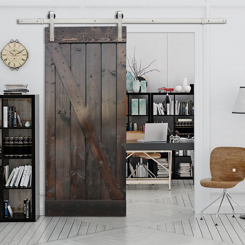 Attirant Paneled Wood Sliding Barn Door With Installation Hardware Kit