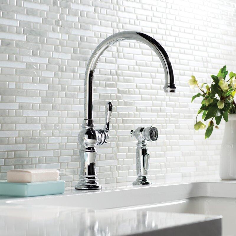 K-99262-2BZ,CP,SN Kohler Artifacts 2-Hole Kitchen Sink Faucet with ...